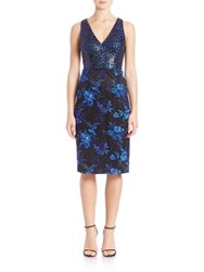 David Meister Printed Sheath Cocktail Dress Royal Black