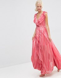 Asos Ruffle Waterfall Maxi Dress With Zip Front In Self Stripe Dark Rose Pink