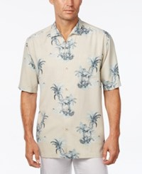Tommy Bahama Men's Where The Palm Frond Floral Print Silk Short Sleeve Shirt Vintage Khaki