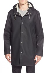 Men's Stutterheim 'Stockholm' Hooded Longline Raincoat Black
