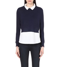 French Connection Fresh Knits Shirt Jumper Nocturnal White