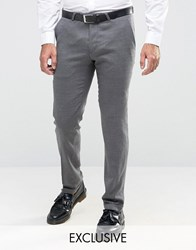 Noose And Monkey Skinny Trousers In Flannel With Turn Up Charcoal Grey