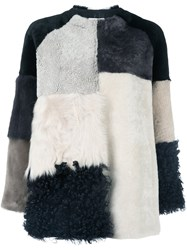 P.A.R.O.S.H. Colour Block Fur Jacket White