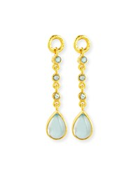 19K Aquamarine Earring Pendants Yellow Elizabeth Locke