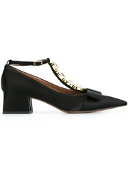 Marni Pointed Block Heel Satin Pumps Black