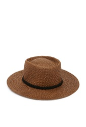 Forever 21 Straw Boater Hat Brown Black