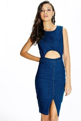 Boohoo Marley Denim Cut Out Waist Midi Dress Mid Blue