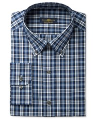 Club Room Estate Men's Classic Fit Wrinkle Resistant Blue Navy Plaid Dress Shirt Only At Macy's