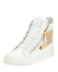 Men's Patent Logo Plate High Top Sneaker White Giuseppe Zanotti
