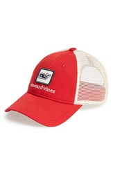 Vineyard Vines Men's Whale Patch Trucker Hat Red Lighthouse Red
