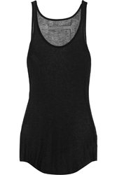 Enza Costa Ribbed Modal And Cashmere Blend Jersey Tank Black