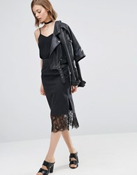 Asos Denim Slip Skirt With Lace Hem In Washed Black Black