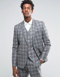 Asos Slim Suit Jacket In Grey With Charcoal Check Grey