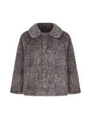 Mela Loves London Faux Fur Jacket Grey