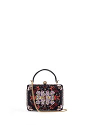 Alexander Mcqueen 'Obsession' Sequin Embroidered Leather Handle Satin Box Clutch Multi Colour