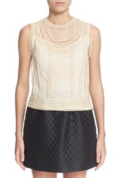 Women's Red Valentino Lace And Point D'esprit Sleeveless Blouse