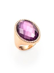 Roberto Coin Cocktail Amethyst Diamond And 18K Rose Gold Ring Amethyst Rose Gold