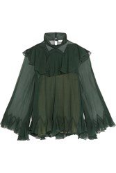 Chloe Ruffled Silk Crepon Turtleneck Blouse Forest Green