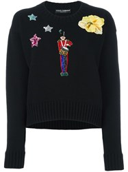 Dolce And Gabbana Embroidered Crew Jumper Black