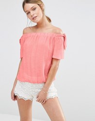 Oasis Tie Shoulder Bardot Top Coral Orange