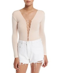 Alexander Wang Long Sleeve Laced Bodysuit Blush