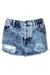 Topshop Moto Ripped Highwaisted Shorts Bleach Stone