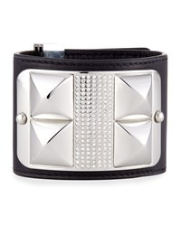 Studded And Pave Leather Cuff Black Silvertone Silver Rebecca Minkoff