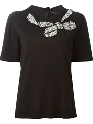 Marc Jacobs Bow Applique Back Button Fastening Top Black