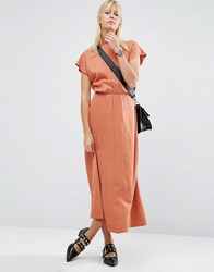 Asos High Neck Open Back Maxi Dress In Jacquard Fabric Rust Red
