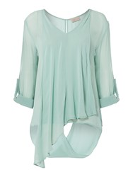 Label Lab Long Sleeve Twist Hem Blouse Green