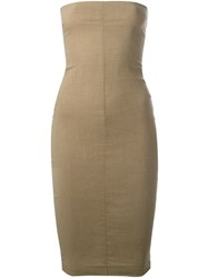 Romeo Gigli Vintage Strapless Tube Dress Nude And Neutrals