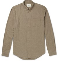 Folk Slim Fit Button Down Collar Brushed Cotton Twill Shirt Sand
