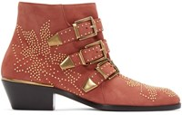 Chloe Red Suede Studded Susanna Boots