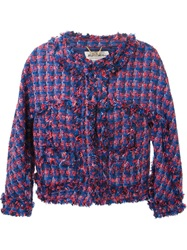 Muveil Fringed Tweed Jacket Blue