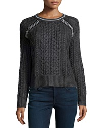 Philosophy Cable Knit Raglan Crewneck Sweater Charcoal
