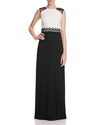 Kay Unger Two Tone Pleated Skirt Gown Black White