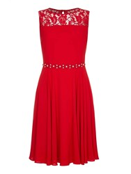 Yumi Red Lace Party Dress With Diamantes Red
