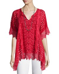 Johnny Was Drapey Eyelet Tunic With Crochet Trim Women's Sunkissed