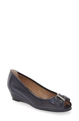 J. Renee Women's Dovehouse' Perforated Peep Toe Wedge Navy Leather