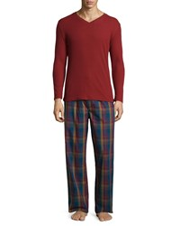 Penguin Plaid Long Sleeve Lounge Set Pomegranate Poseidon