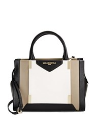 Karl Lagerfeld Katie Leather Satchel Taupe Combo