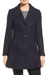 Kensie Women's Notch Lapel Peplum Coat Navy