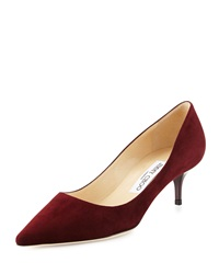 Jimmy Choo Aza Suede Kitten Heel Pump Dark Red