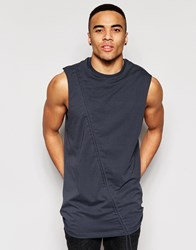 Asos Longline Sleevless T Shirt With Drawstring Detail And Drape Neck Gray