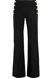 Max Mara Stretch Cotton And Linen Blend Wide Leg Pants Black