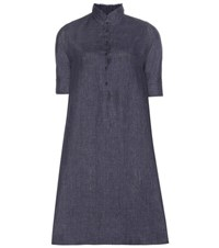 Loro Piana Lucy Linen Dress Blue
