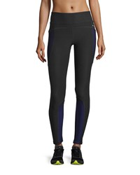 X By Gottex Colorblock Mesh Performance Leggings Black Blue