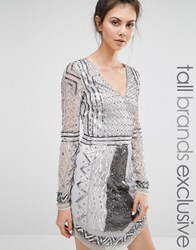 Maya Tall Long Sleeve Plunge Front Heavily Embellished Mini Dress Silver Grey