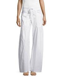 Xcvi Willowy Wide Leg Drawstring Cargo Pants White