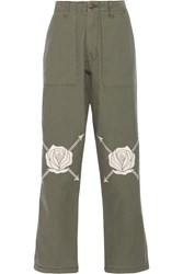 Bliss And Mischief Song Of The East Embroidered Cotton Twill Straight Leg Pants Army Green